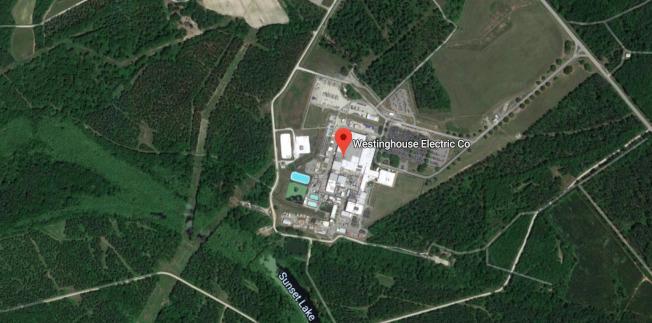 位於哥倫比亞和康佳麗國家公園(Congaree National Park)之間的西屋工廠佔地1200畝,運作已有50年,主要為全美許多核電站供應核燃料棒。(谷歌地圖)