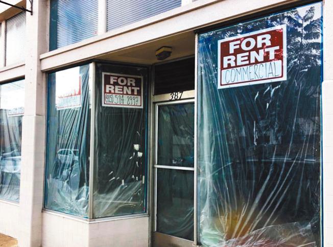 舊金山市內空置店鋪多。(記者李晗╱攝影)