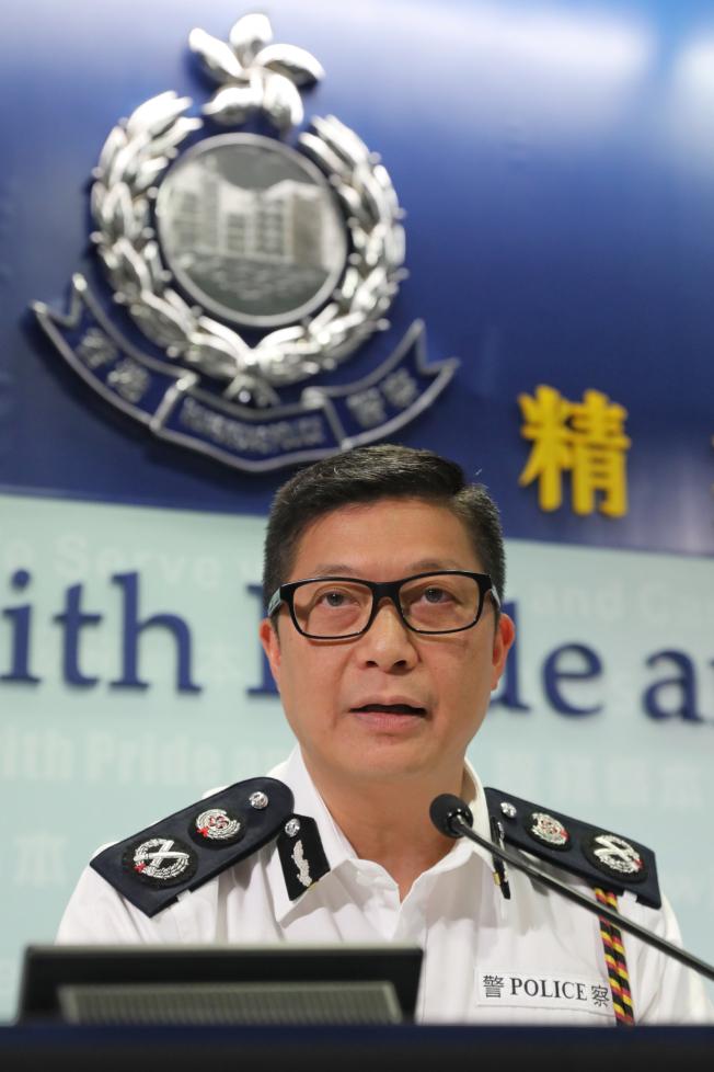 香港警務處處長鄧炳強懇請市民支持警方嚴正執法,重建社會秩序。  (中通社)