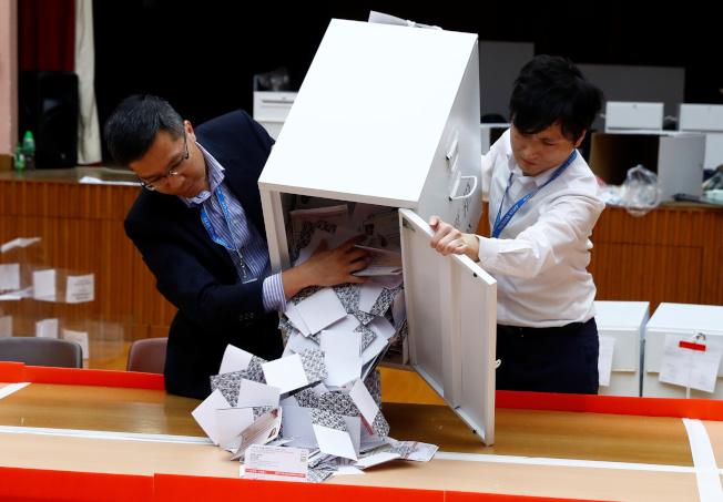 香港區議會選舉,泛民主派獲得壓倒性勝利。路透