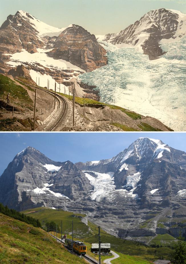 瑞士少女峰在1900年(上)和2019年(下)相比,顯示當地冰河百年來已明顯消退。(路透)