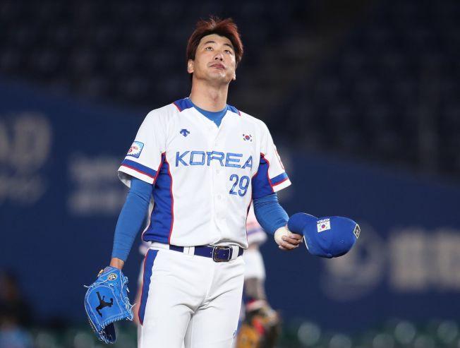 世界12強棒球賽,南韓隊投手金廣鉉。(中央社)