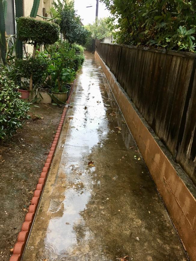 感恩節前夕、暴風雨27日來襲,聖蓋博谷住宅區開始積水。(記者丁曙/攝影)