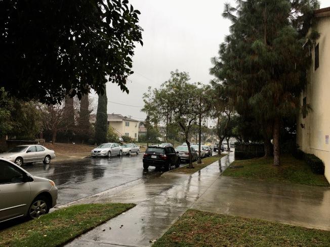感恩節風暴27日來襲,聖蓋博谷社區籠罩在風雨陰霾中。(記者丁曙/攝影)