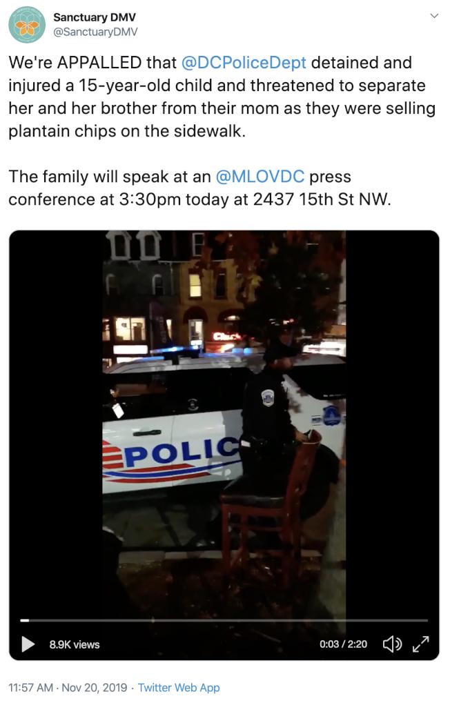 移民維權團體在推特發布視頻,警方執法惹爭議。(推特)