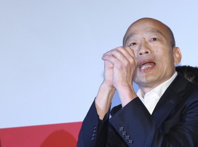 國民黨總統參選人韓國瑜呼籲支持者,從即日起接到任何民調電話一概拒絕回答。 記者許正宏/攝影