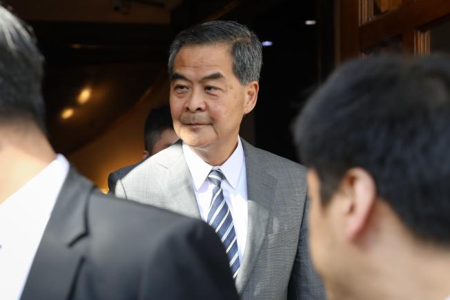 全國政協副主席、前香港特區行政長官梁振英28日在香港外國記者會發表演講。 (中通社)