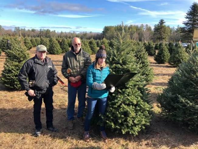 圖為麻州能源署和農業署代表到本地農場砍耶誕樹。(州長辦公室提供)