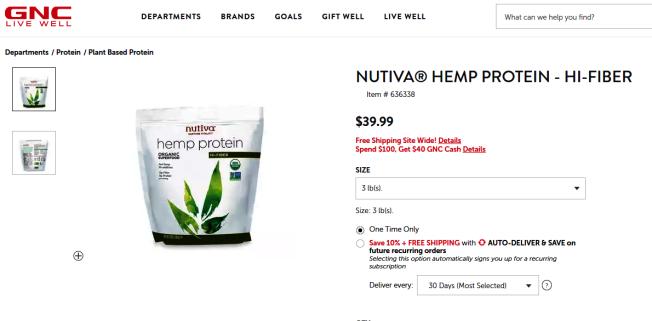 在網上可輕易買到含有漢麻(Hemp)保健品,也不能通過快遞寄送回中國。(取自GNC官網)