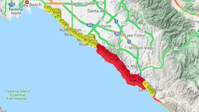 紅色代表被關閉的橙縣海灘。(橙縣衛生局提供)