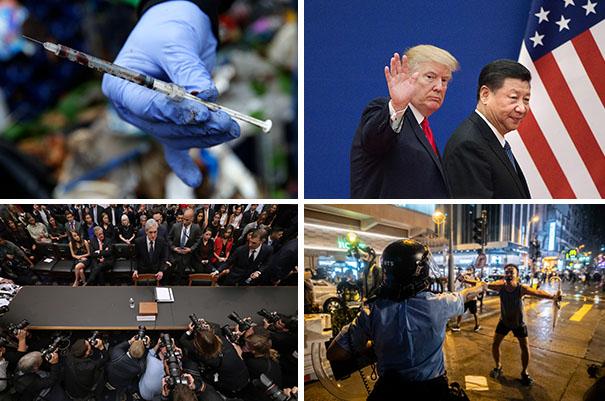 世界日報選出2019年十大新聞。(美聯社、路透、Getty Images)