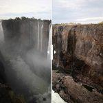 前後對照圖 非洲南部陷入旱災 世界最大瀑布維多利亞竟成細流