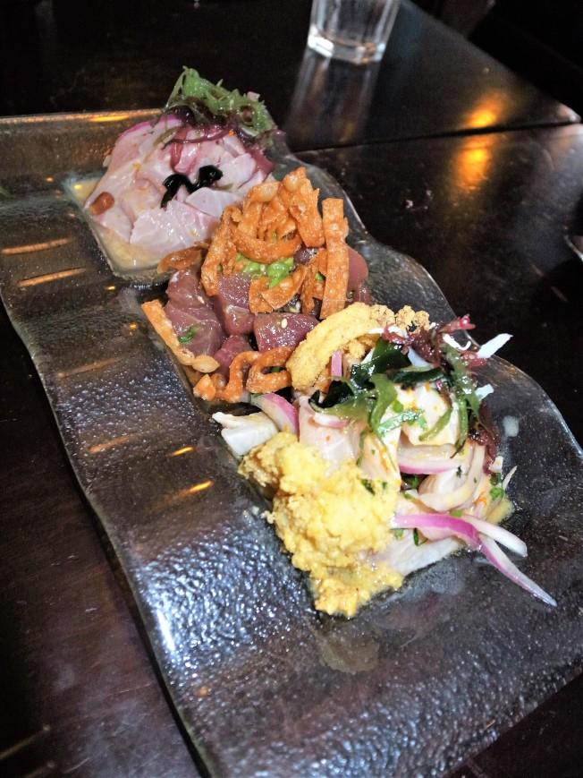 舊金山祕魯餐廳Fresca的三款「檸汁醃魚」。