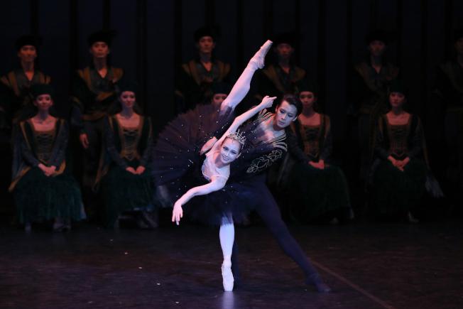 第三幕<br />在邪惡的黑天鵝─奧吉莉亞(戚冰雪飾)的欺騙下,王子(吳虎生飾)輕信她就是真愛,並向她發誓永遠忠貞。該幕劇情緊迫加上黑天鵝的32圈揮鞭轉,讓觀眾看得牽動人心、掌聲迭起。(圖:上海芭蕾舞團提供)