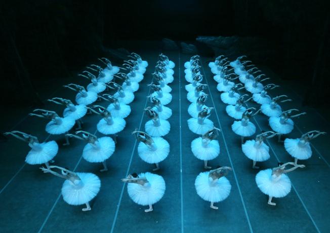 第二幕<br />群舞場面將天鵝群的悲傷、憤怒、驚懼化作一股力量,在視覺上呈排山倒海之勢,不僅將劇情推向高潮,更帶給觀眾無可比擬的情感衝擊。(圖:上海芭蕾舞團提供)