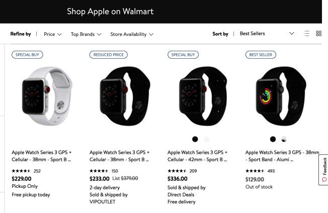 葉同學心儀手錶是最右邊的Apple Watch三代智能手錶,該款手錶一降價立刻秒殺。(截圖自Walmart)