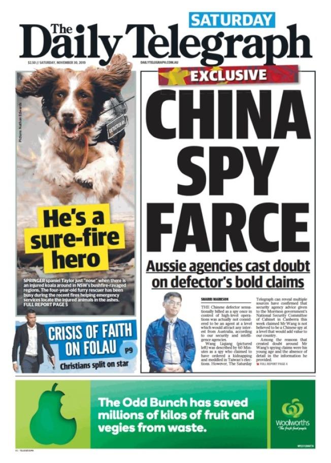 澳洲每日電訊報頭版以「中國間諜鬧劇」為標題。(取材自電訊報官網)
