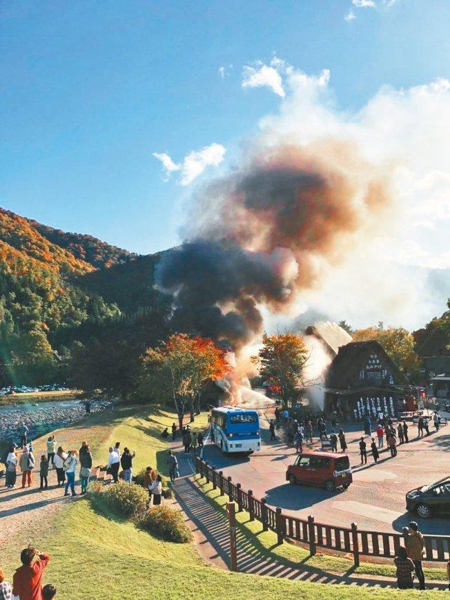 日本白川鄉合掌村先前發生火災,疑是車庫電源設備釀禍。圖/取自網路