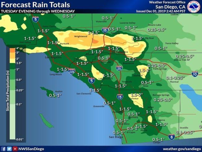 低溫風暴! 雨雪周二再襲南加州