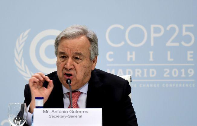 聯合國秘書長古特瑞斯1日在西班牙首都馬德里表示,在未來幾天,各國政府需要「增強雄心和承諾」,以結束全球氣候危機。(Getty Images)