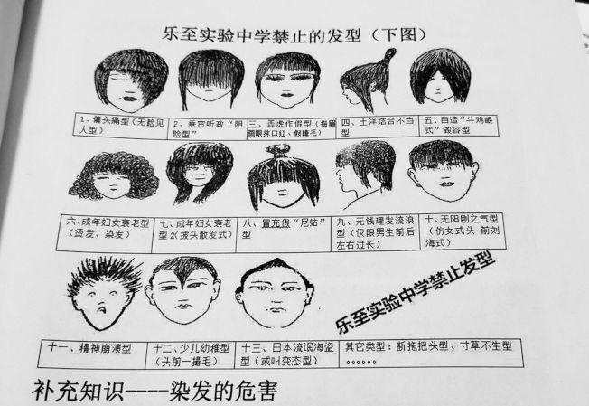 樂至實驗中學的禁止髮型圖冊,漫畫加上搞笑說明引人發噱。(取材自微博)