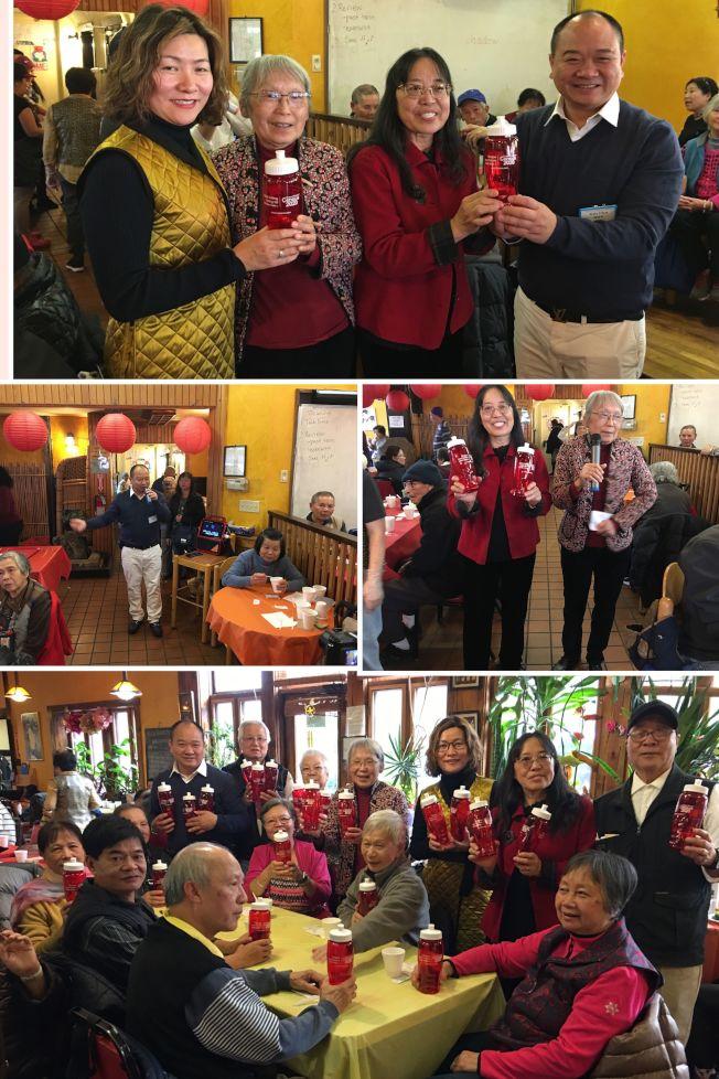 上圖右起:陳健明、黃呂玉瓊、鄔亮珊、陳太太。 圖片:東南亞中心耆老慶祝感恩節,提前吃火雞,場面熱鬧溫馨!