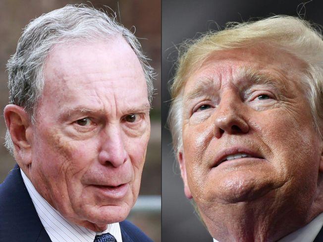 美國總統川普(右)的競選陣營今天表示,不再將採訪證發給彭博(Bloomberg News)記者。這家通訊社的老闆是民主黨總統參選人彭博(左)。Getty Images