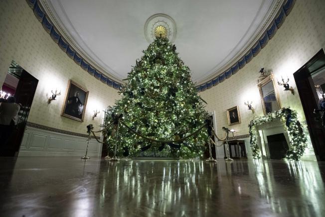 白宮2日公開展示第一夫人定調布置的2019年白宮耶誕樹裝飾。在藍廳展出一棵來自賓州、高18.5英尺(5.6公尺)的花旗松。(美聯社)