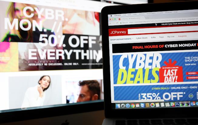 今年「網購星期一」銷售金額預期將達到94億元,比去年增加約19%。圖為「網購星期一」的廣告。(Getty Images)