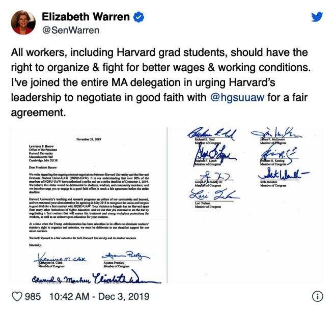 民主黨總統參選人華倫在推特上曬出麻州11名聯邦參議員和國會議員聯合簽署、發給哈佛校長的一封支持HGSU的信。(截圖自華倫推特)