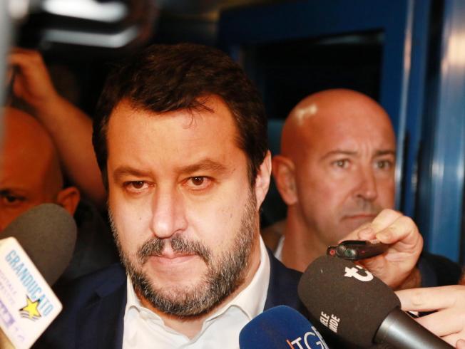 薩爾維尼領導的聯盟黨,現為義大利最大黨。(歐新社)