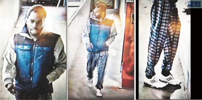 被告基德去年12月31日進入華埠北平園的畫面被監控視頻抓拍。(舊金山警察局提供)