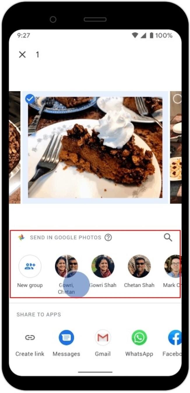 Google相簿「Send in Google Photo」功能整體介面類似於即時通訊軟體。(取材自Google Blog)
