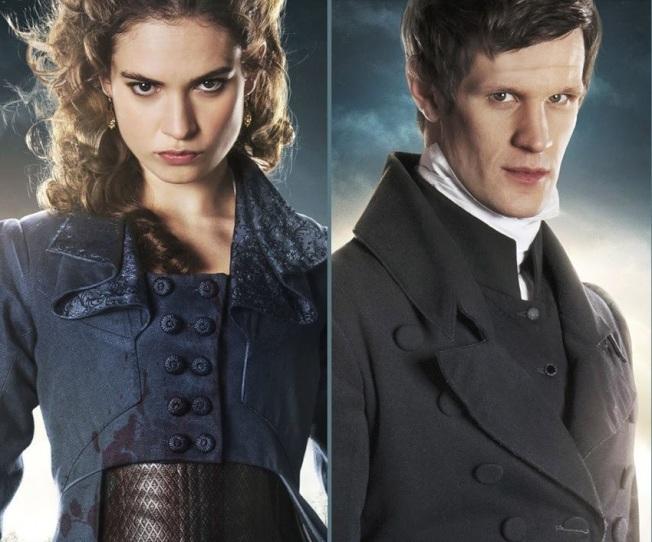 莉莉詹姆斯(左)和麥特史密斯(右)因合演「傲慢與偏見與殭屍」結緣,交往5年,被傳近日分手。(取材自IMDb)