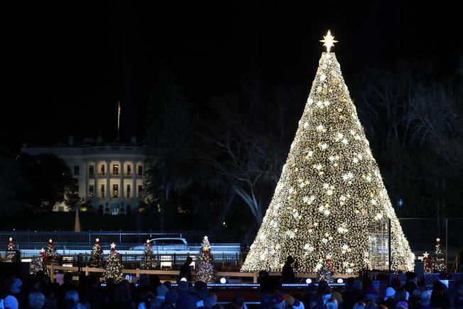 第97屆國家耶誕樹點燈儀式,川普夫婦任內第三度點燈。(記者羅曉媛/攝影)