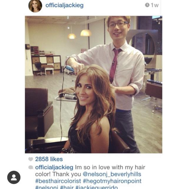 為氣象女主播Jackie Guerrido做髮型。(Nelson J Salon INS圖)