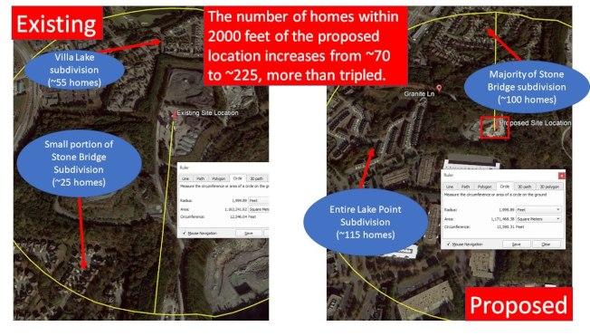 「反瀝青廠委員會」召集人陳贇指出新廠附近的民宅數與舊廠相比,將由約70戶增加至225戶,增加逾3倍。(取自福賽斯郡委員會影片截圖)