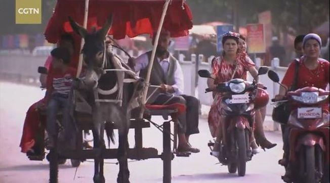 「中國新疆,反恐前沿」英文紀錄片5日在CGTN播出。(視頻截圖)