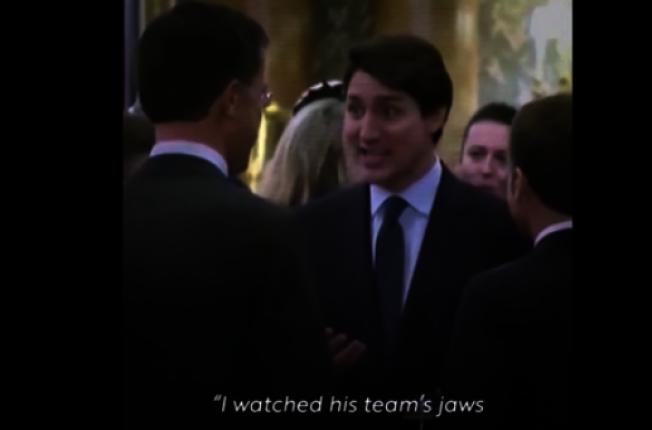 最新的白登競選廣告利用北約峰會中加拿大總理杜魯多等人私下嘲笑川普總統話多的畫面。(取自白登競選視頻)