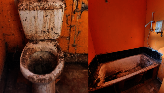 房屋內的馬桶、浴缸都被黑色污垢覆蓋著,讓安東尼傻眼。圖擷自Facebook
