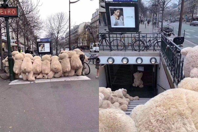 法國大規模罷工,街頭則出現眾多等地鐵的大型泰迪熊。(取自臉書「Les nounours des gobelins」)