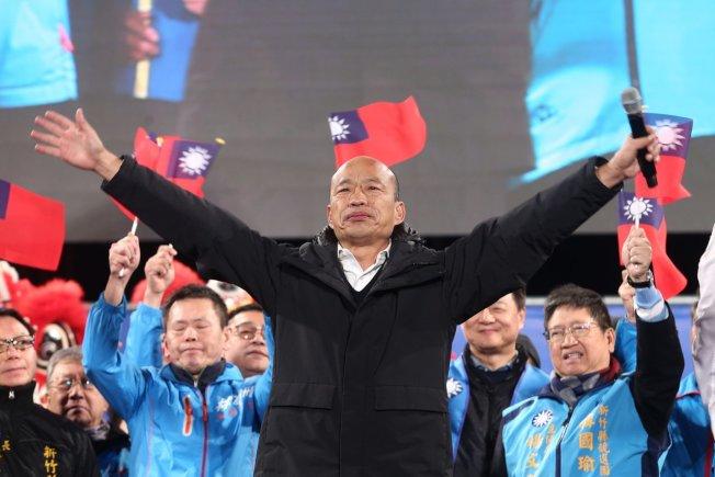 國民黨總統候選人韓國瑜(中)新竹造勢,呼籲下架蔡英文。記者蘇健忠/攝影