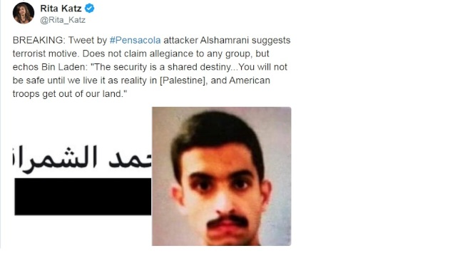 反恐專家麗塔卡茲推文稱,兇嫌贊同賓拉丹的言論,「在巴勒斯坦人安居,美軍撤出中東之前,美國將不會安寧。」(取自推特)