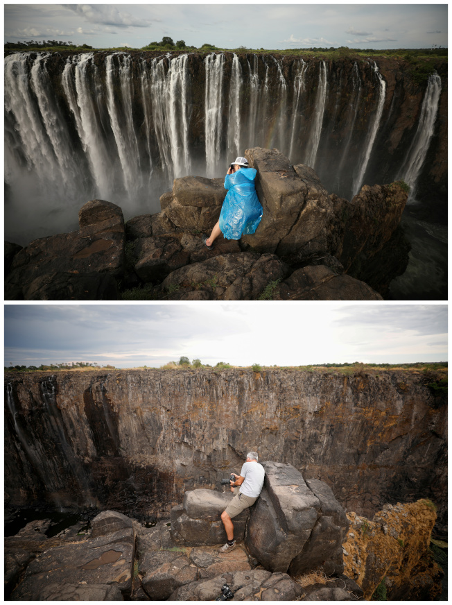 維多利亞瀑布12月4日幾乎看不見流水(上圖),與今年1月17日萬馬奔騰的情況(下圖)相比,可謂大相徑庭。(路透)