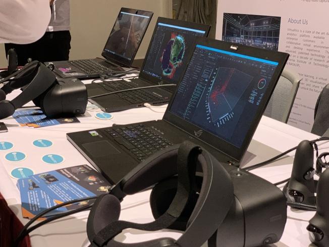 現場提供VR虛擬實境體驗。(記者王子銘/攝影)