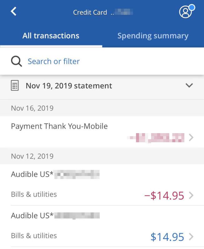 王小姐的信用卡遭遇訂閱服務網站Audible盜刷,她不得不更換了一張新卡,但沒想到第二個月,這項扣費又「陰魂不散」地跟到新卡上。(王小姐提供)
