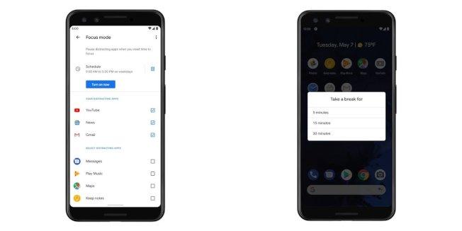 按下「專心模式」,那些被設定為要隔離的分心 App 就不會發出通知(左),如果想要休息一下,可以開啟「休息片刻」功能,預設有5分鐘、15分鐘、30分鐘(右)。(取材自Google)