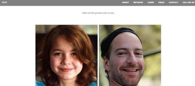 你猜得出來左右哪張圖片是真的嗎?(翻拍自Which Face is Real?網站)