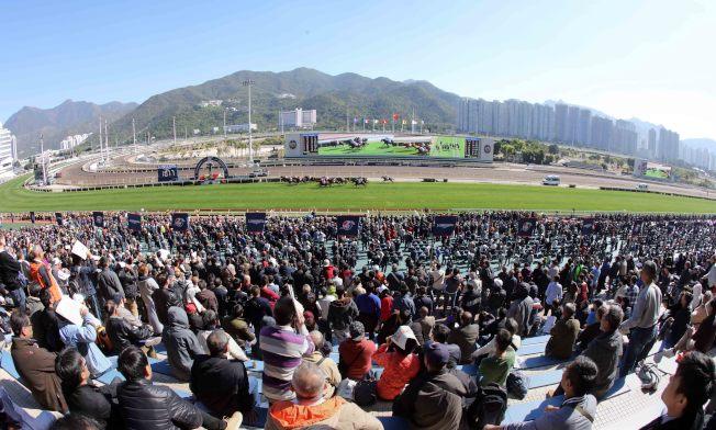 沙田馬場8日上演一年一度國際賽日,十場草地賽馬總投注額約為17.1億元,兩個馬場總入場人數接近3萬人,較去年同日的9萬6000多人下跌。(中通社)