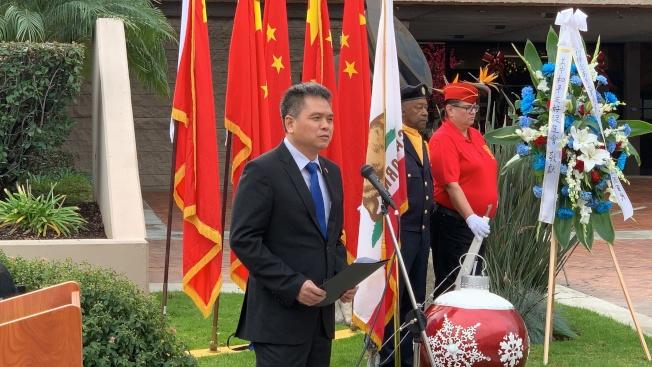 中國駐洛杉磯總領館僑務領事何明。(記者王子銘/攝影)